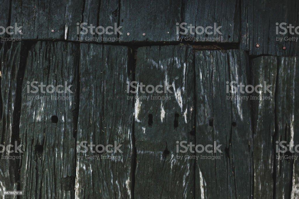 Old wooden texture, dark black background stock photo