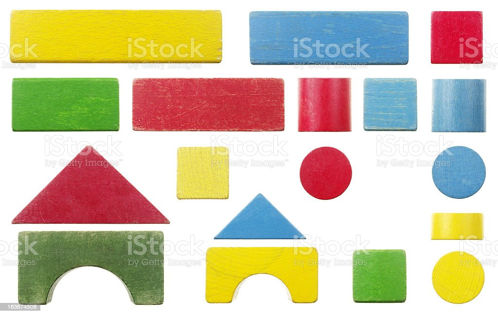 Old Wooden Toy Building Block Set Isolated On White stock photo