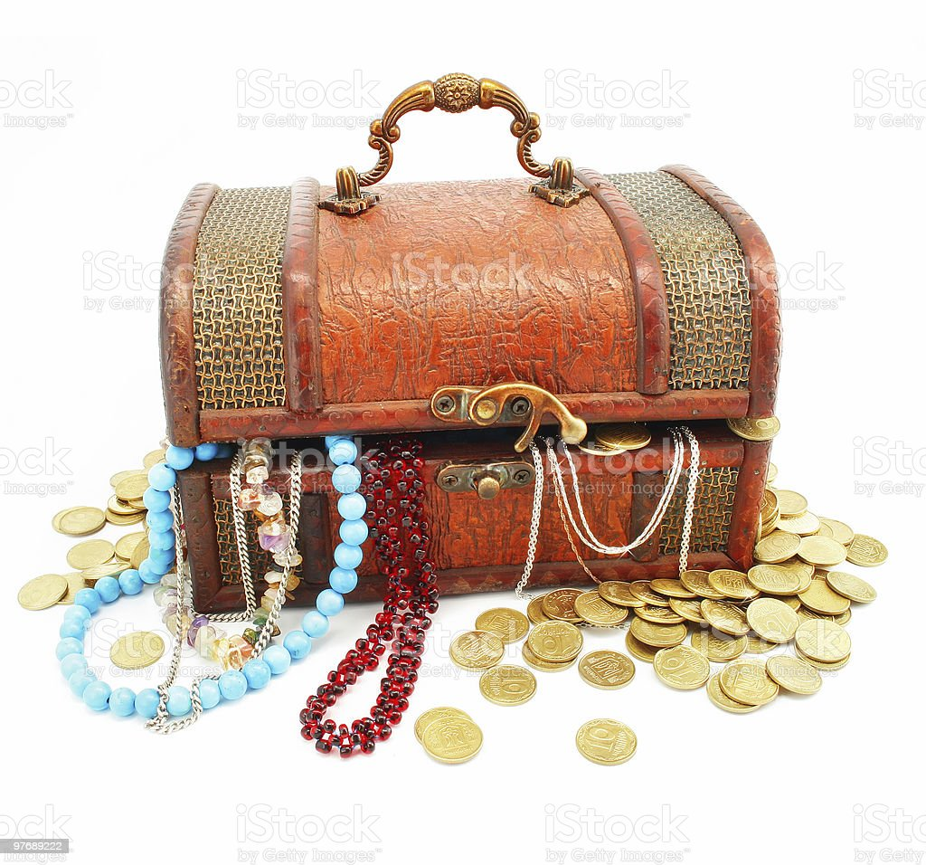 old wooden trunk with money and jewellery isolated royalty-free stock photo