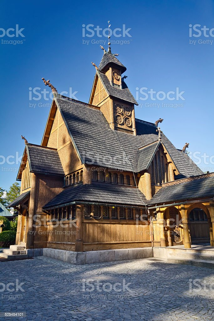 Old wooden Vang stave church, Karpacz, Poland stock photo