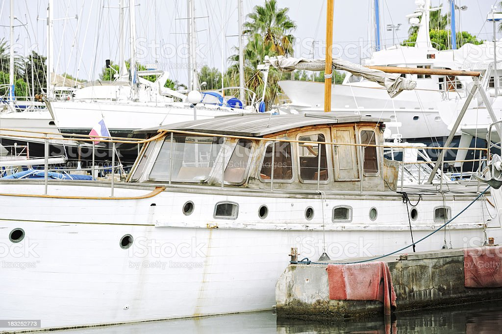 Old Wooden Vessel in a French Marina stock photo