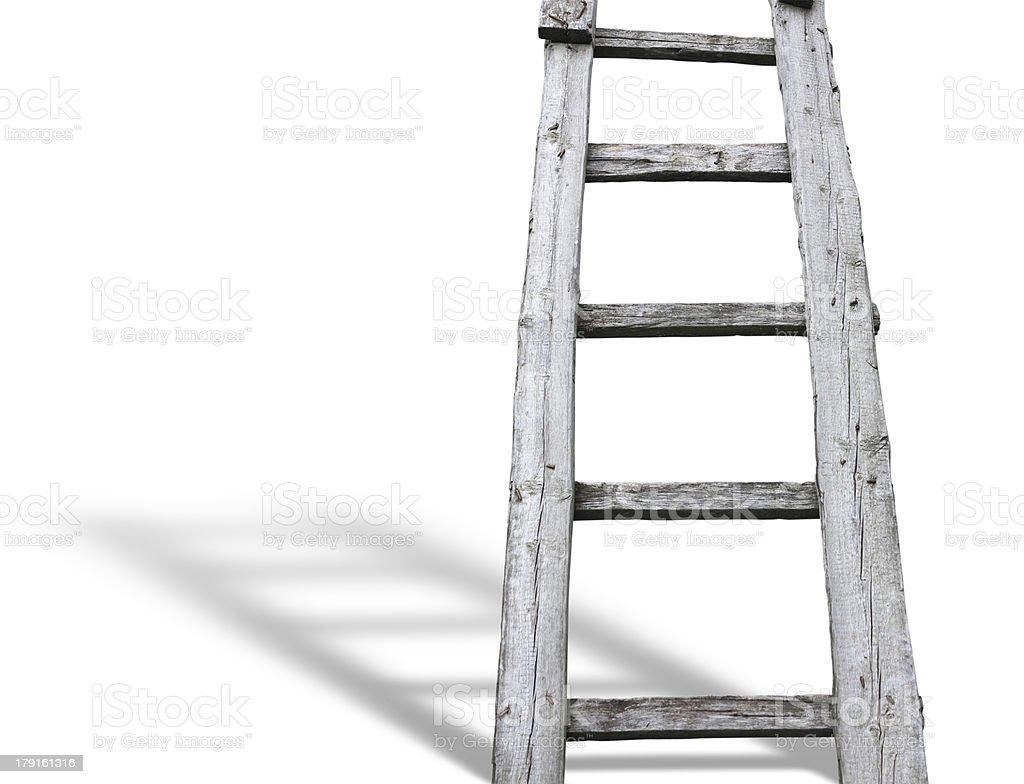 Velha cuve Escada de madeira vintage sobre Branco com sombra foto de stock royalty-free