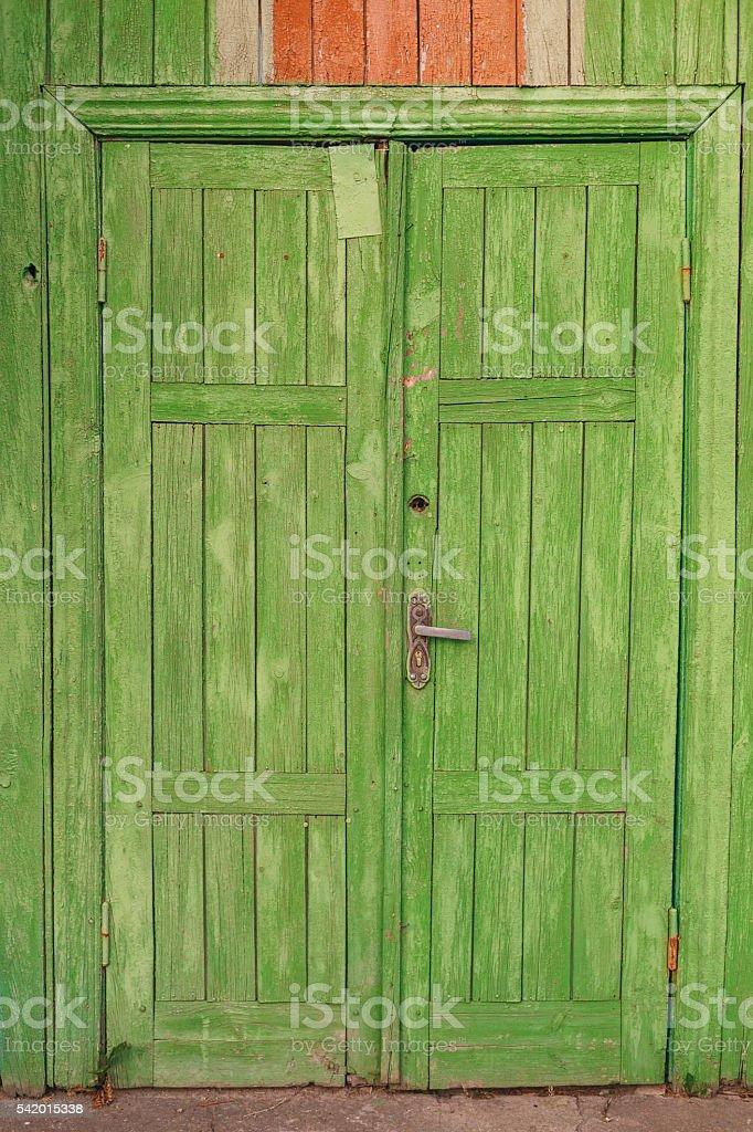 old wooden vintage door closed stock photo