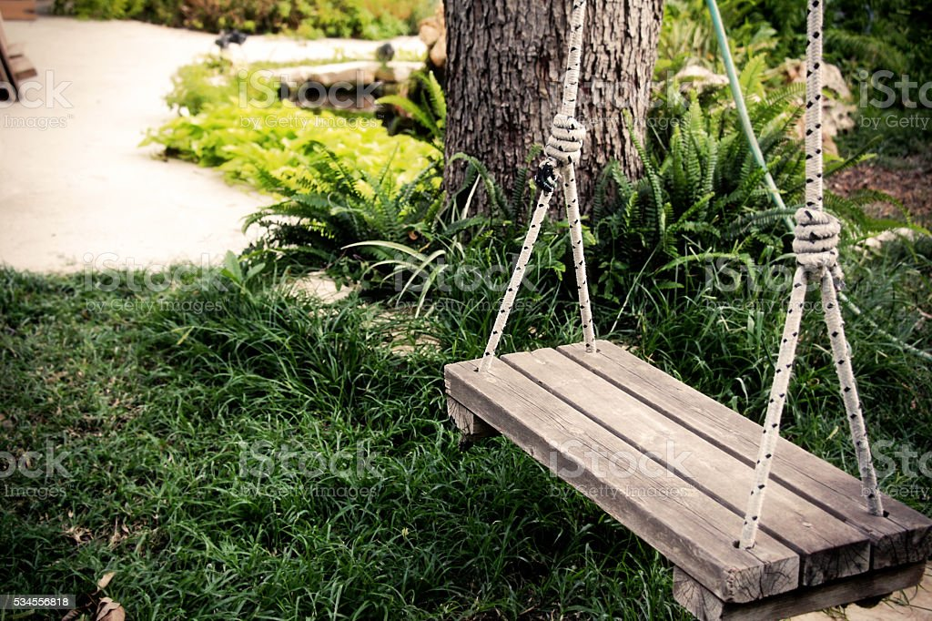 Old wooden vintage swing hanging from a large tree stock photo