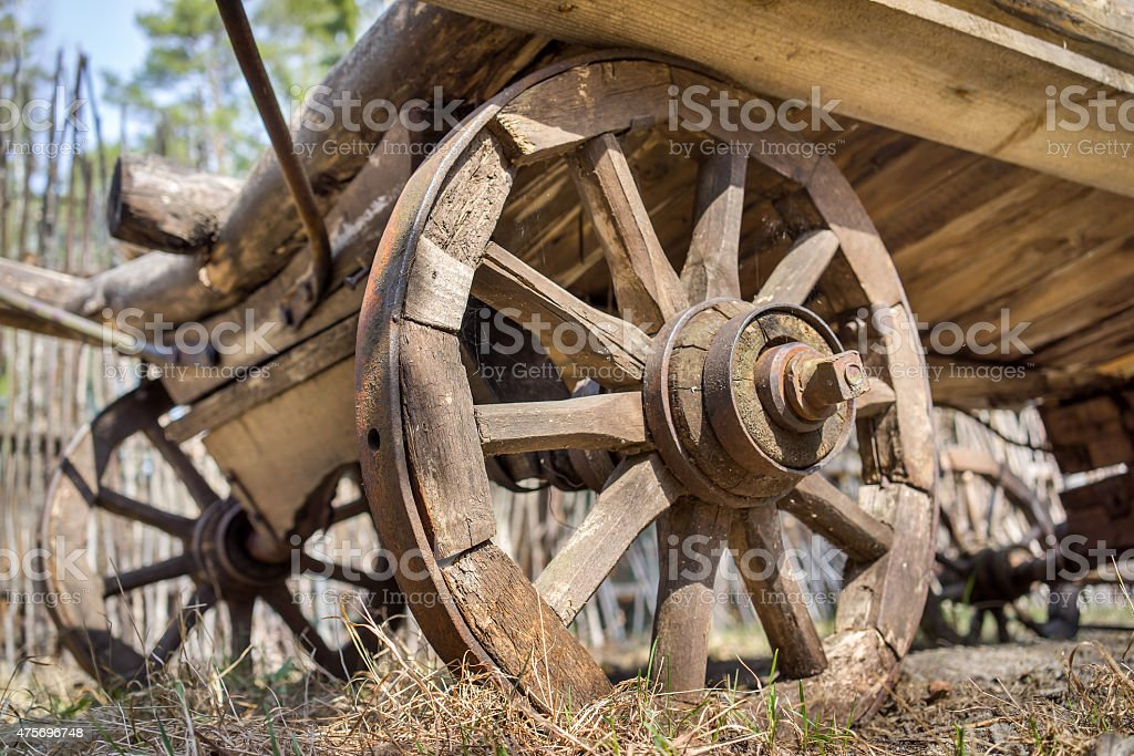 old wooden waggon dray weels stock photo