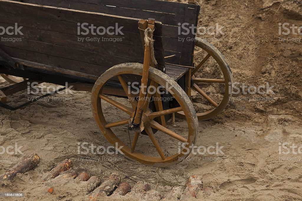 Old wooden waggon stock photo