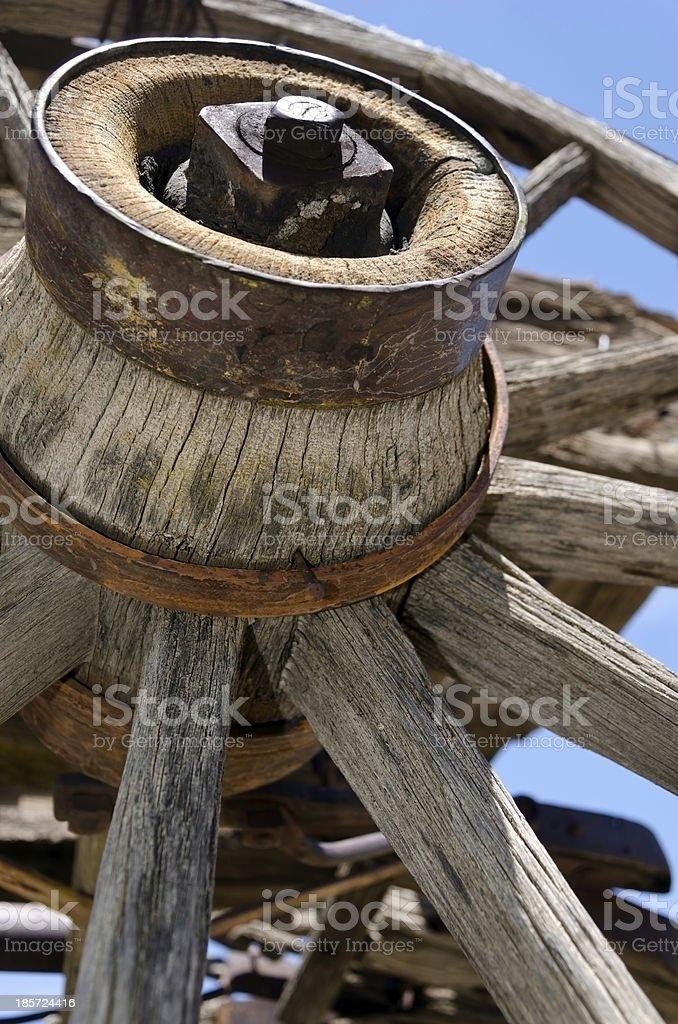 Old wooden wagon wheel stock photo