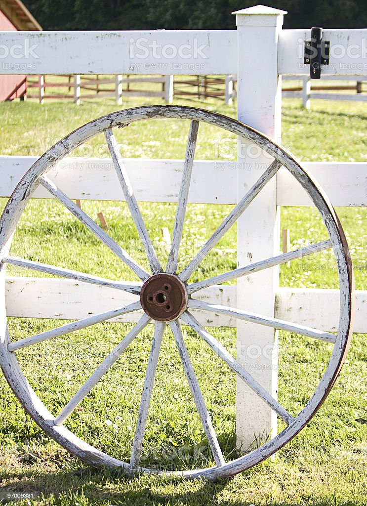 Old wooden wagon wheel royalty-free stock photo