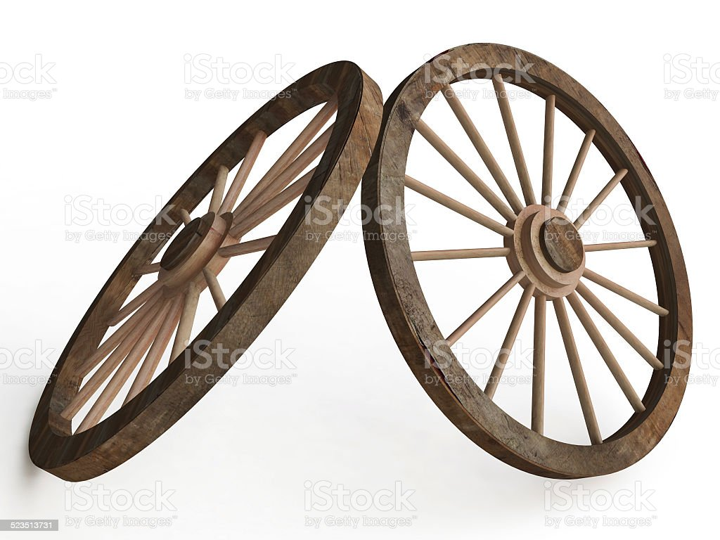 Old Wooden Wagon Wheels stock photo