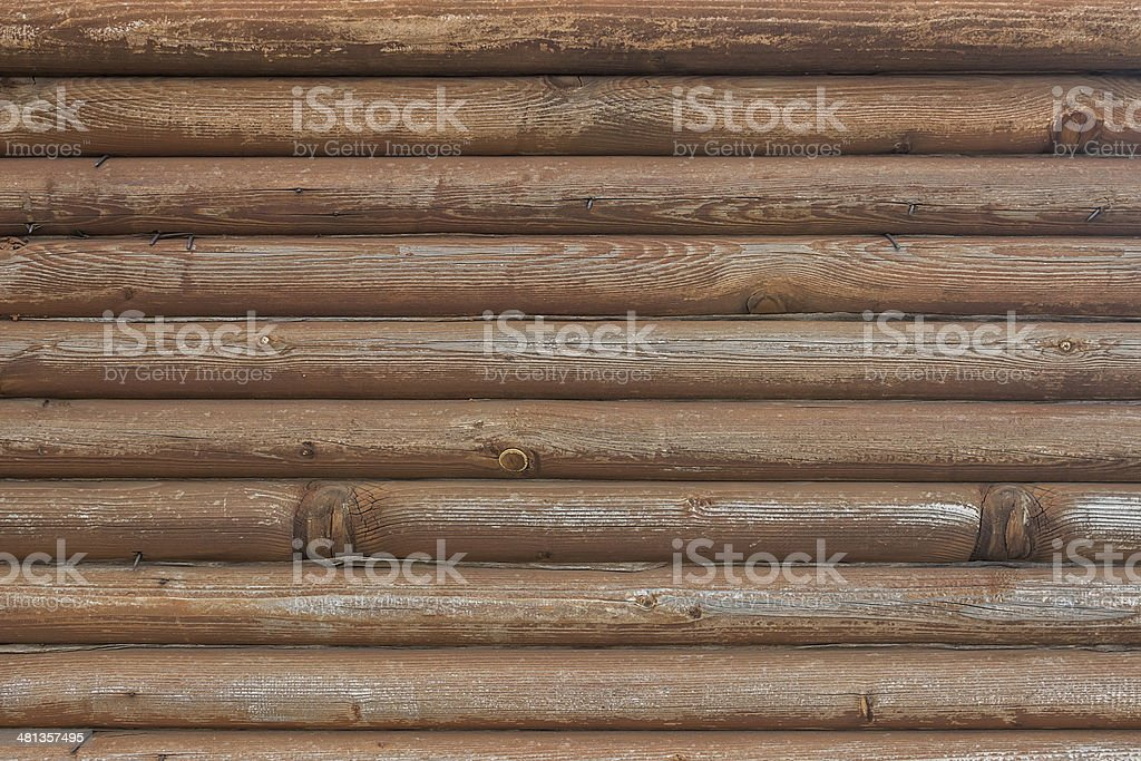 old wooden wall made of logs stock photo