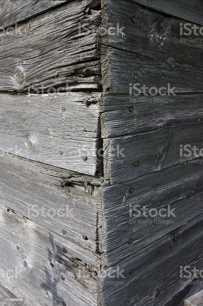 Old Wooden Wall with Cross shape stock photo