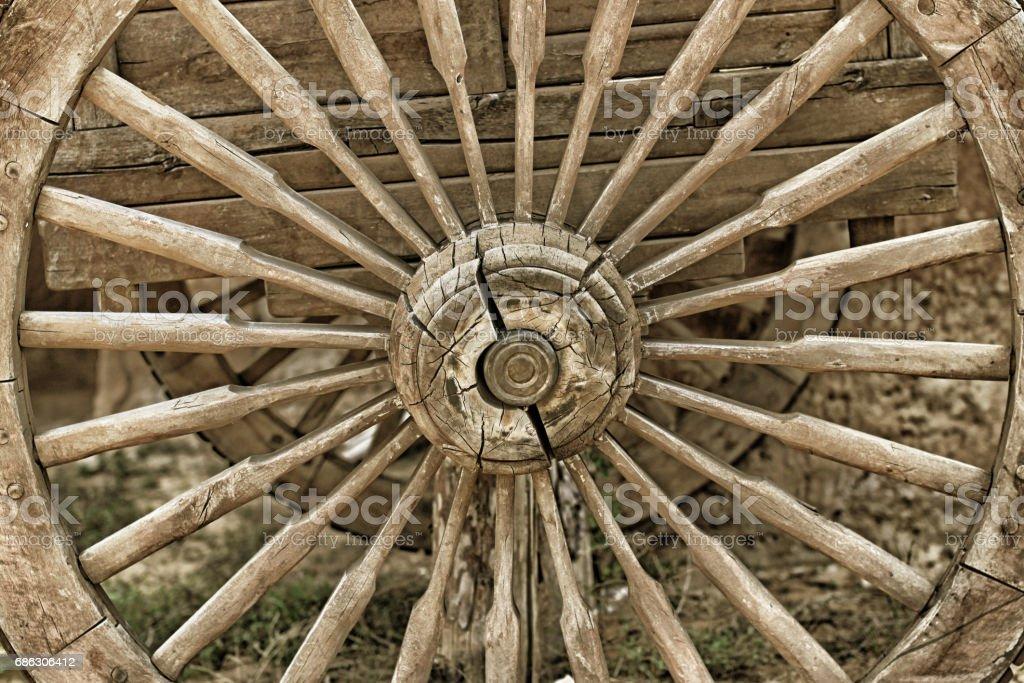 Old wooden wheel closeup stock photo