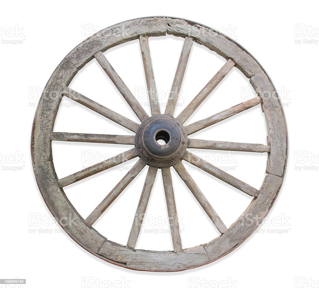 Old wooden wheel. stock photo