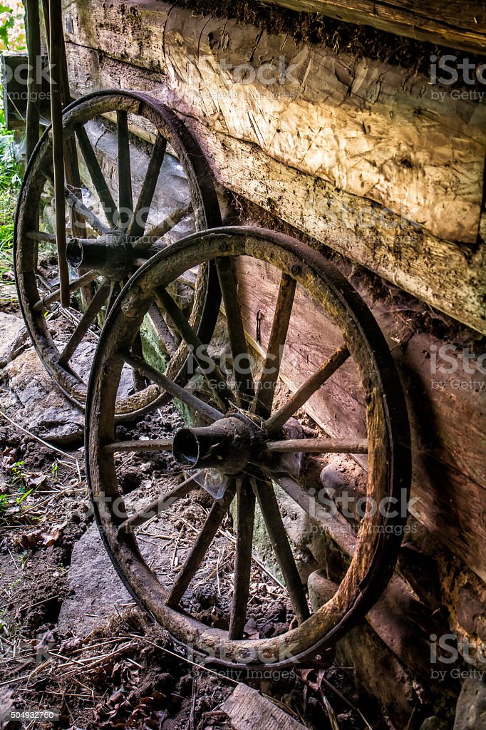 Old wooden wheels stock photo