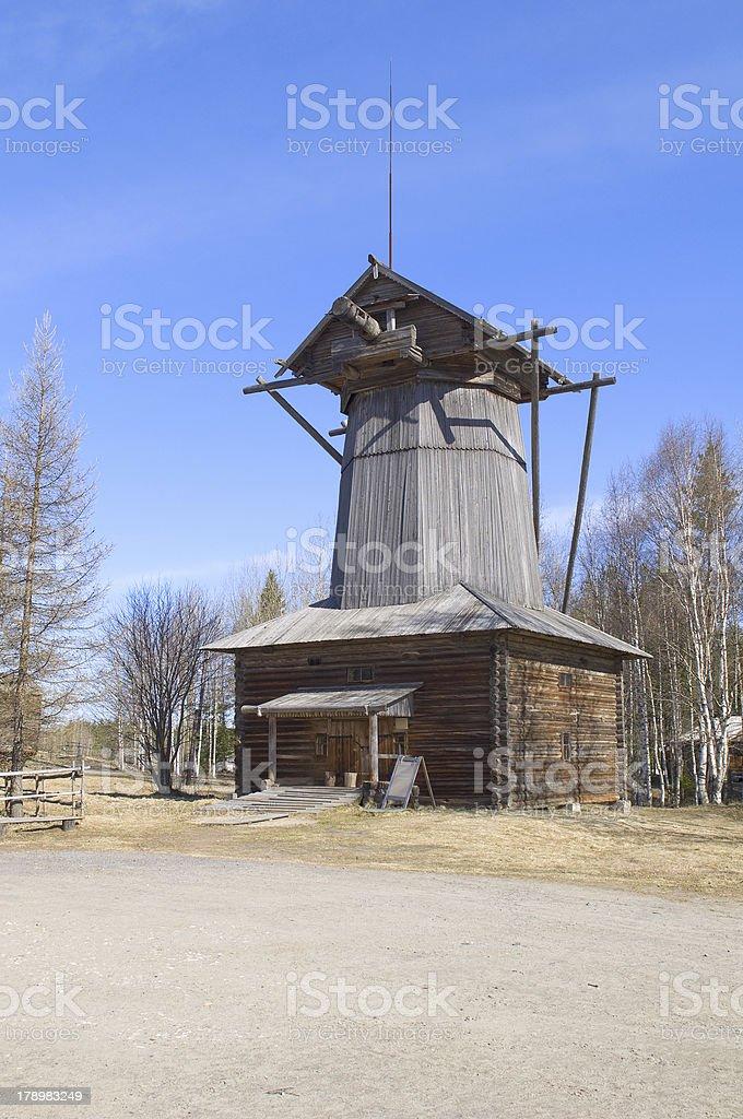 Old wooden windmill in Malye Karely. Arkhangelsk royalty-free stock photo