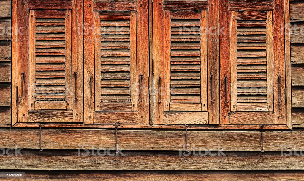 Old Wooden Windows, 4 Closed, Oriental Style royalty-free stock photo