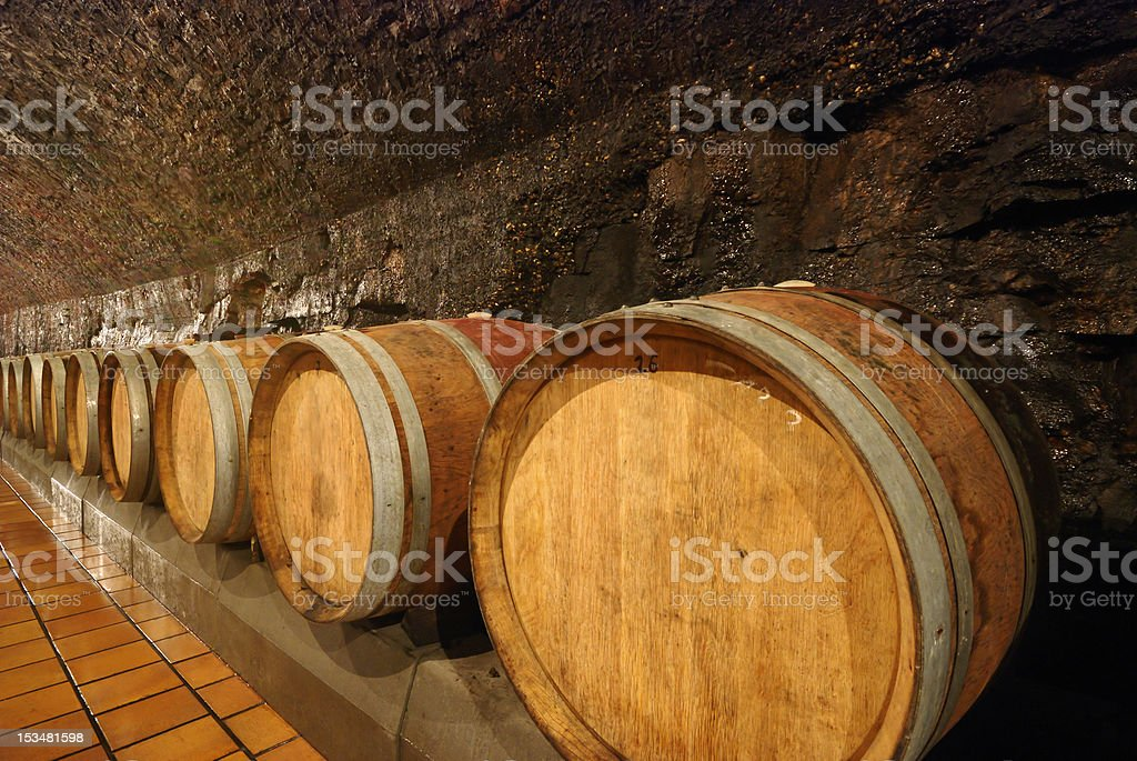 Old wooden wine barrels royalty-free stock photo