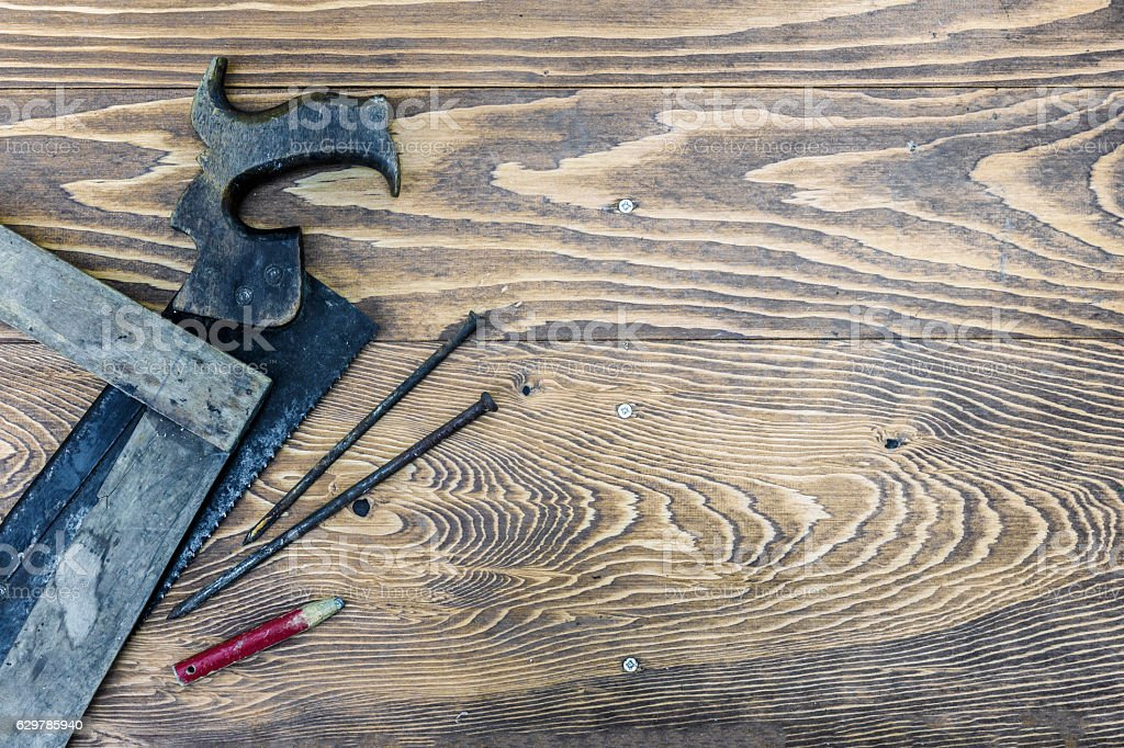 Old Woodworking Tools Ready to be Used stock photo