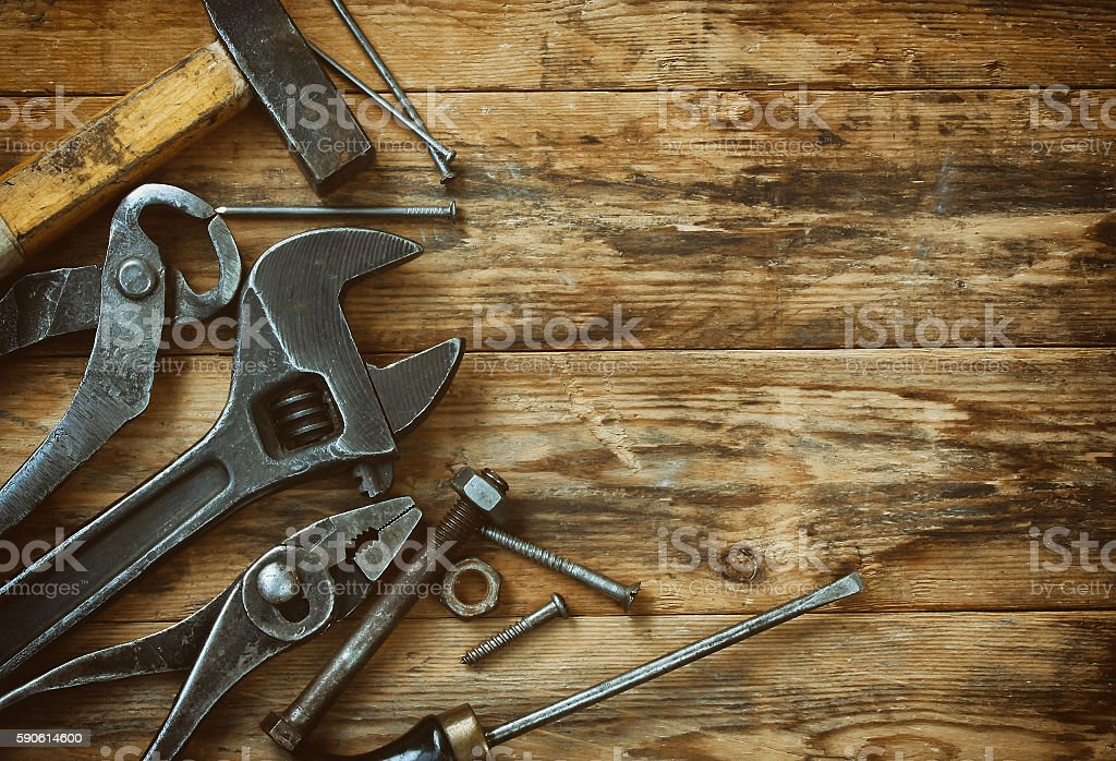 old work tools on wooden table stock photo
