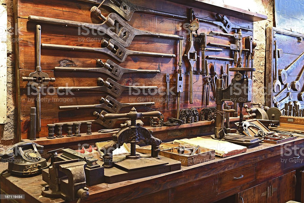 Old Workbench royalty-free stock photo