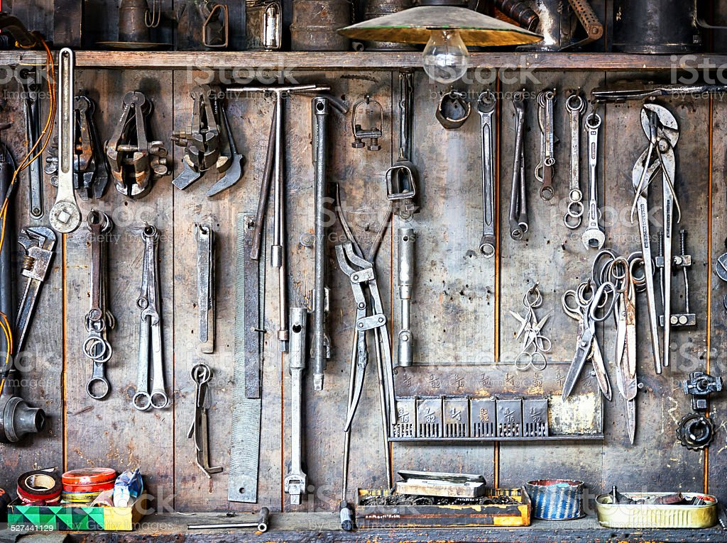 old workbench stock photo