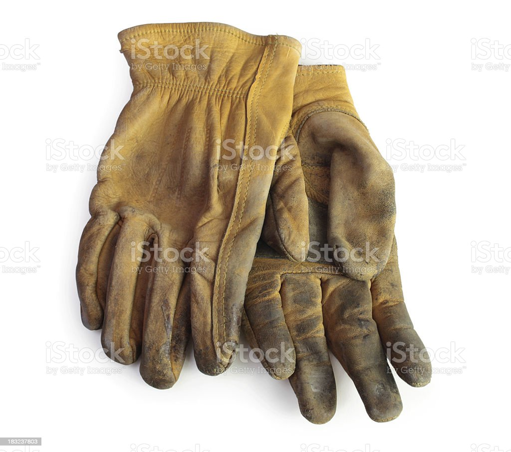 Old working gloves stock photo