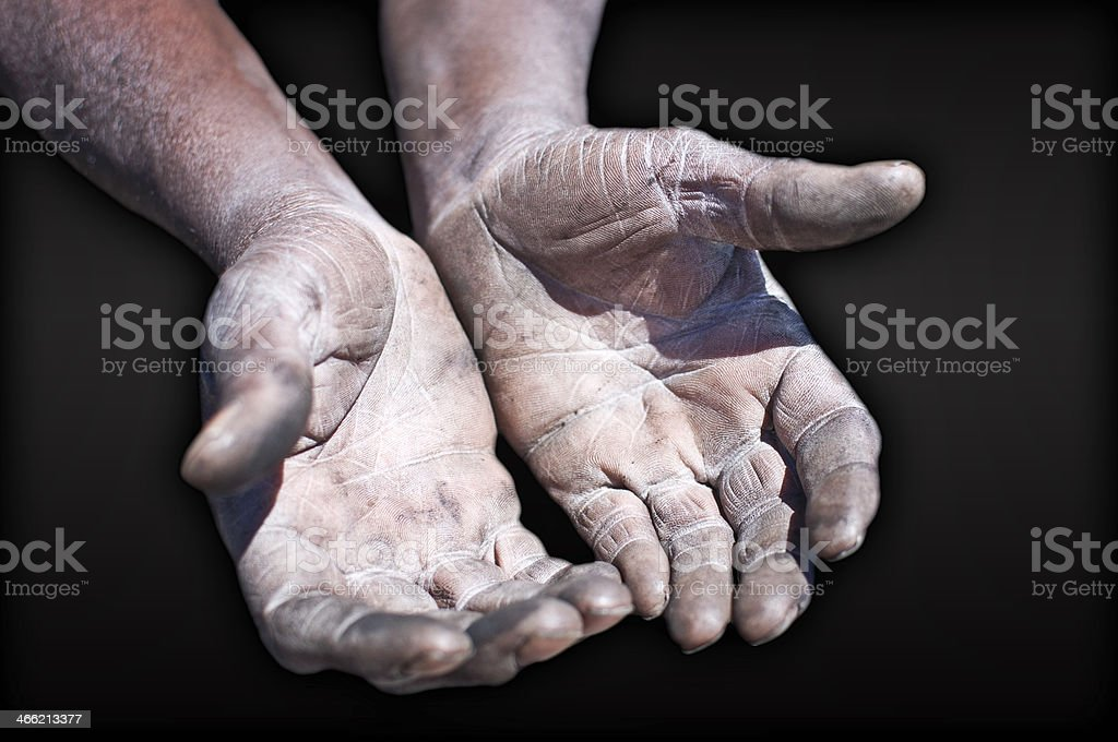 Old Working Man Hands royalty-free stock photo