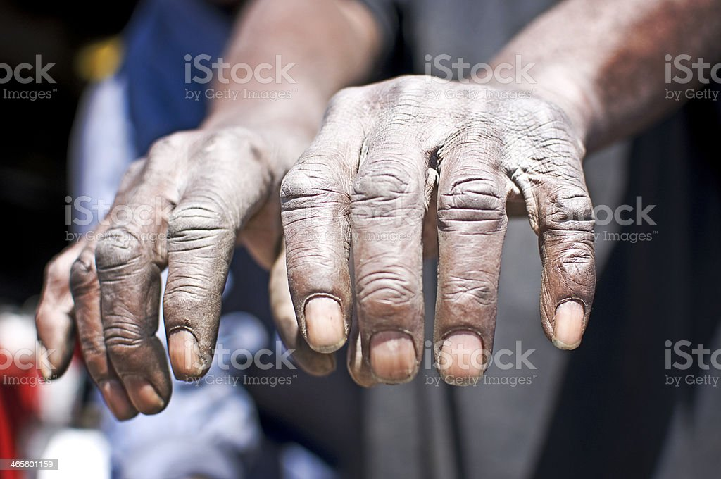 Old Working Man's Hands royalty-free stock photo