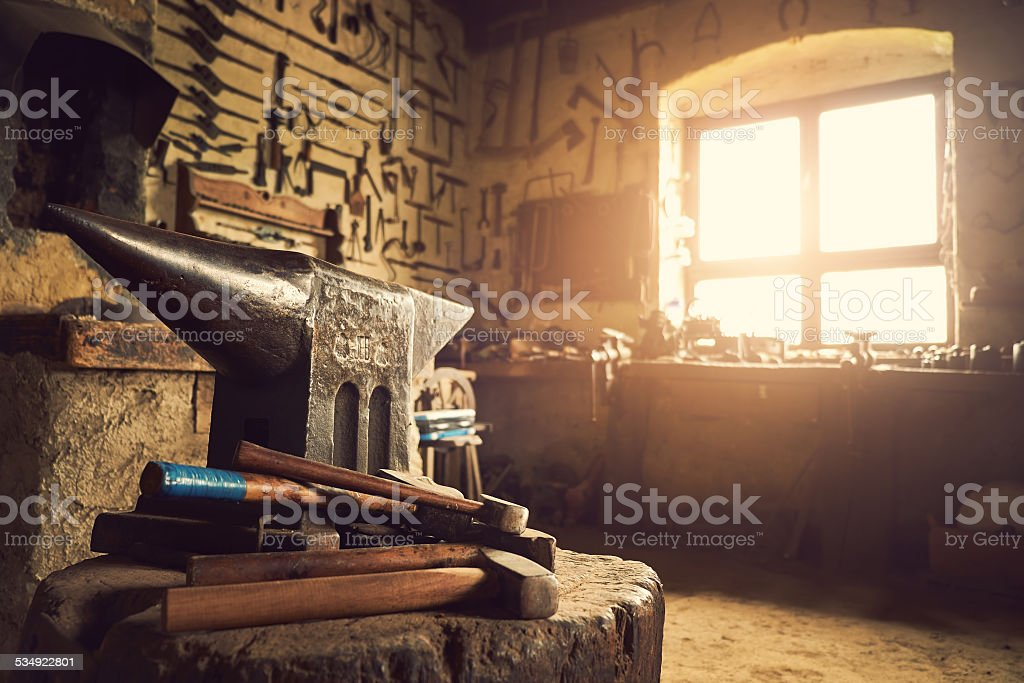 Old workshop stock photo