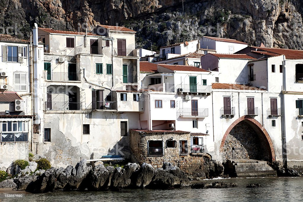 Old World Buildings  at Cefalu Beach stock photo