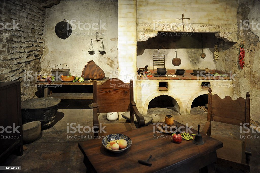 Old world kitchen stock photo