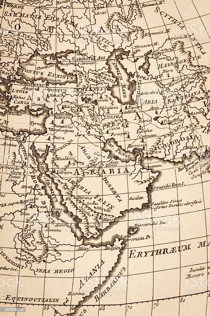 Old world map, Arabian Peninsula stock photo