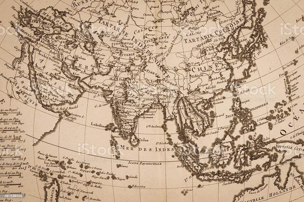 Old world map, Asia stock photo