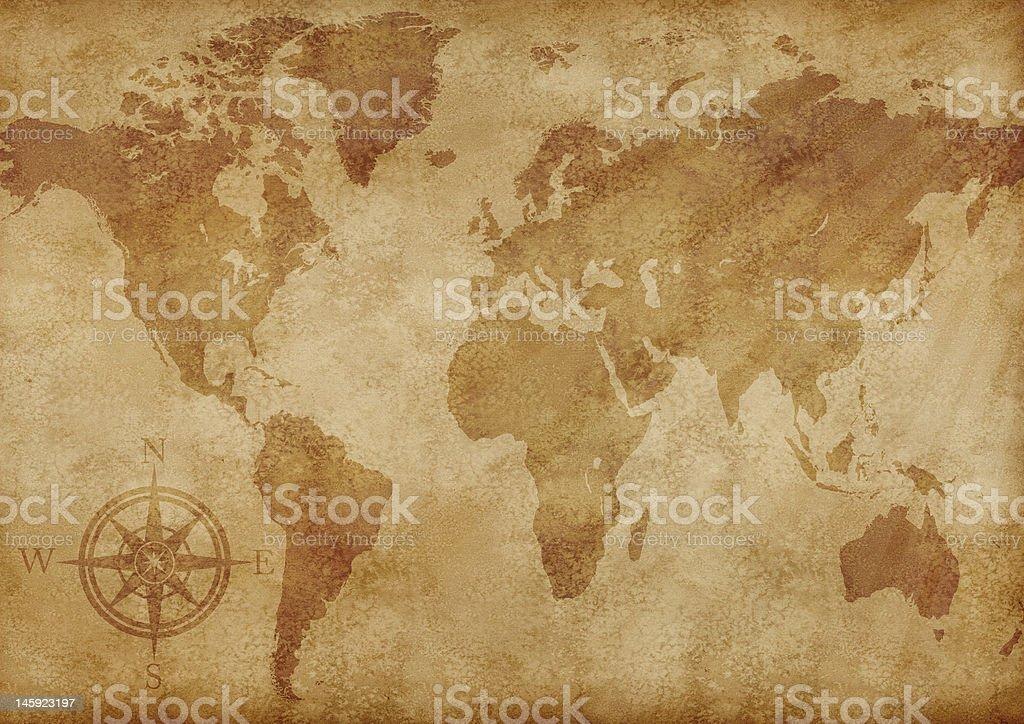 Old world map illustration royalty-free stock photo