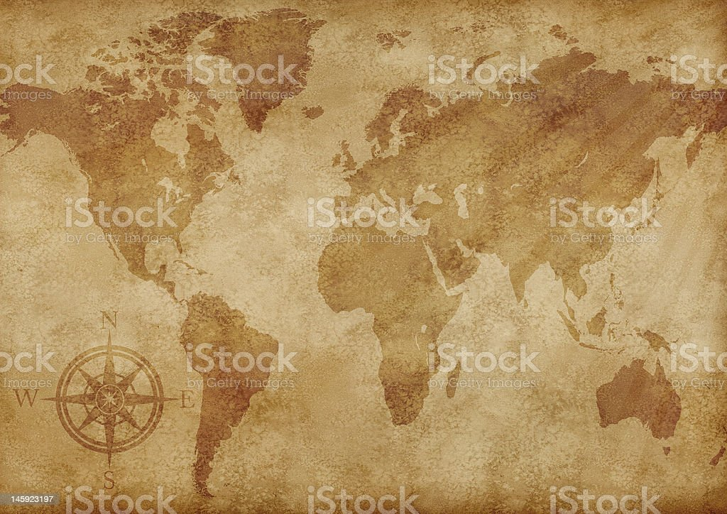 Old world map illustration stock photo