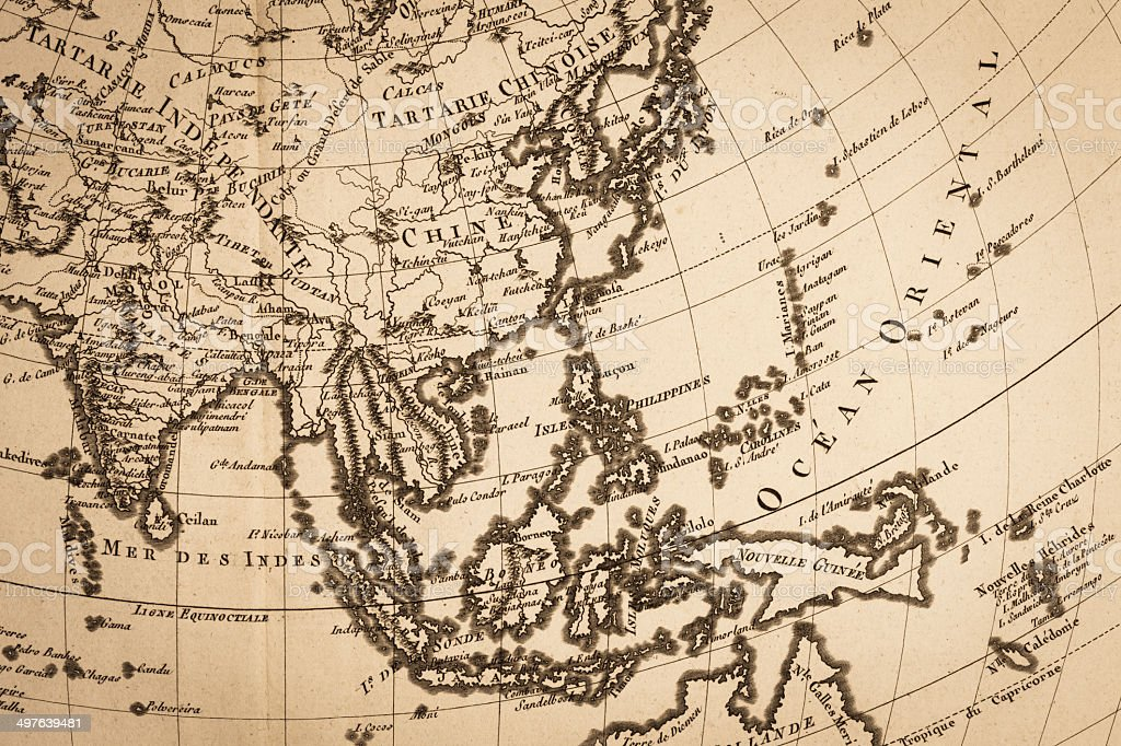 Old world map, Japan and East Asia stock photo
