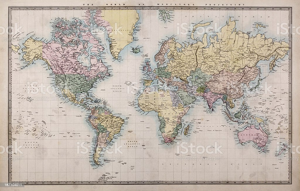 Old World Map on Mercators Projection stock photo