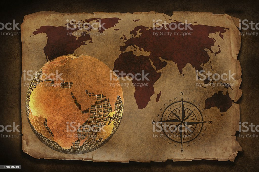 old world map with compass royalty-free stock photo