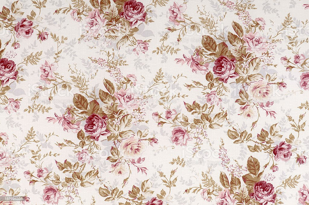 Old World Rose Antique Floral Fabric stock photo