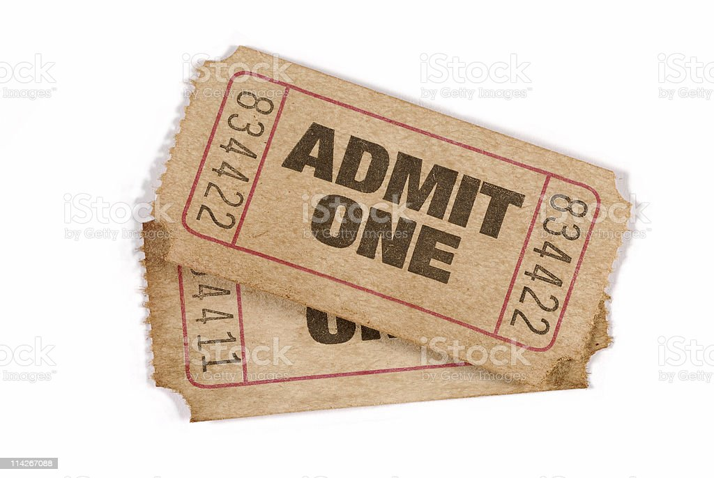 Old worn admission tickets royalty-free stock photo
