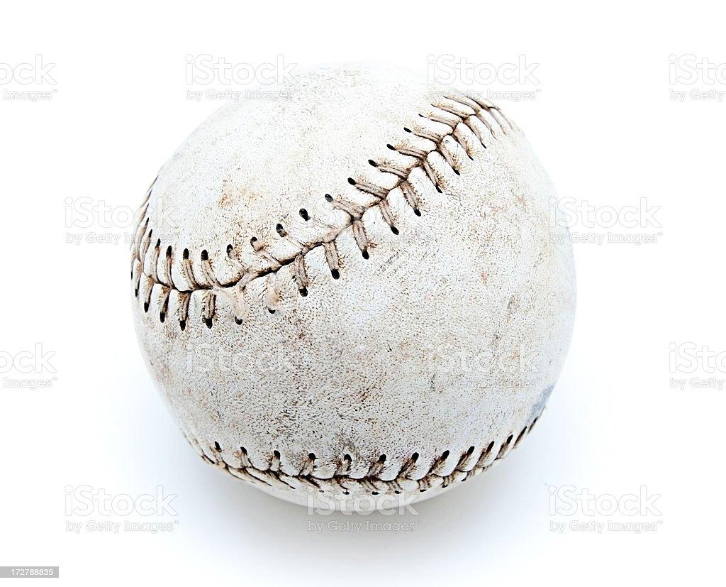 Old Worn Baseball Isolated on White Background royalty-free stock photo