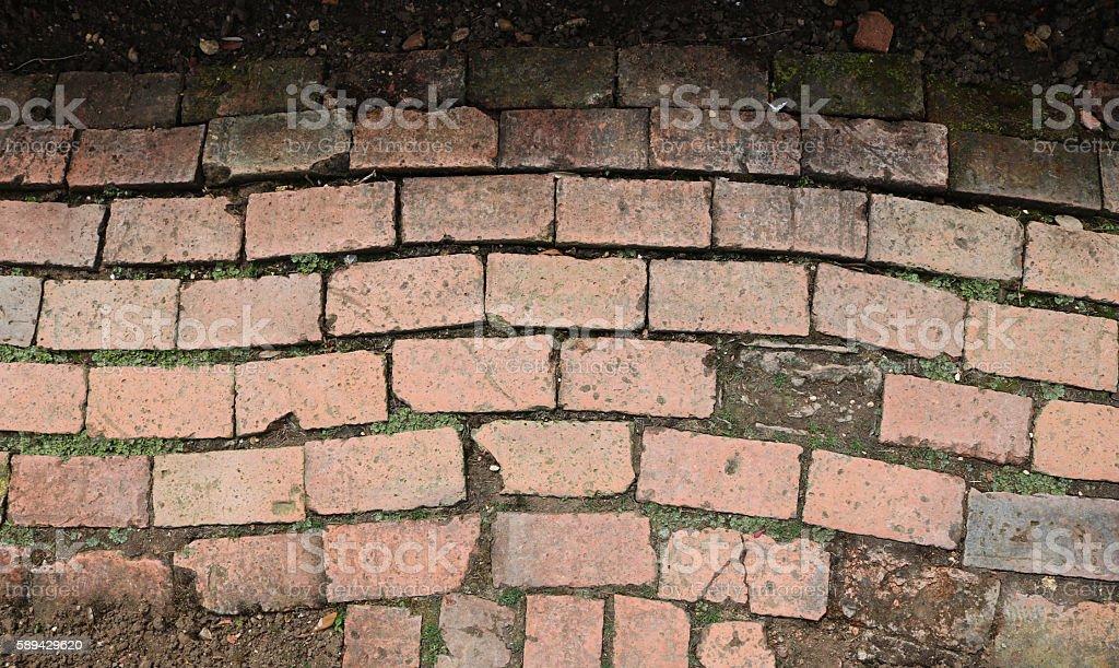 Old worn brick pathway stock photo