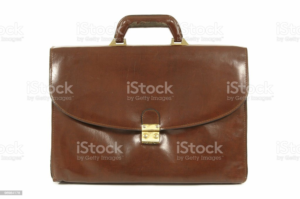 Old worn brown leather briefcase stock photo