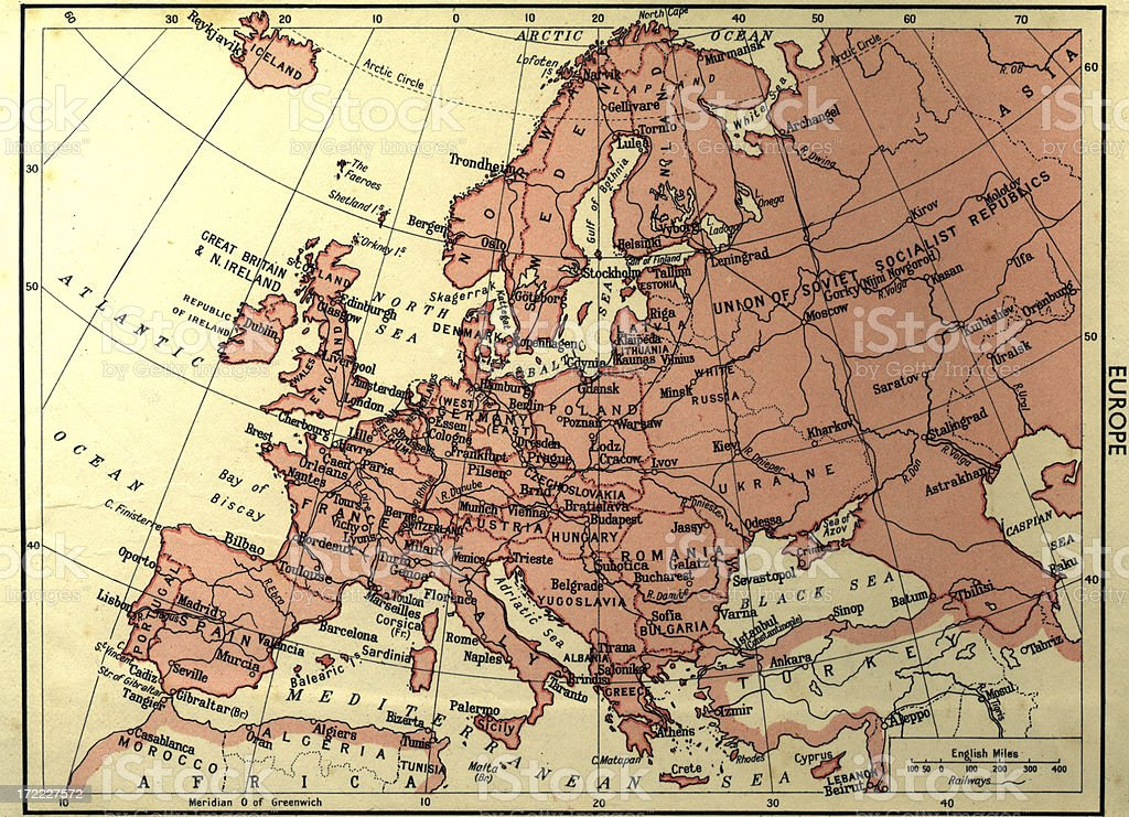 old worn map of europe stock photo