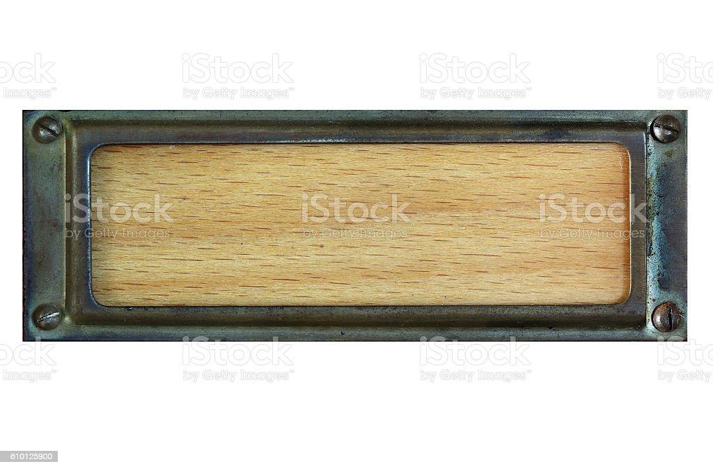 Old worn metal label stock photo