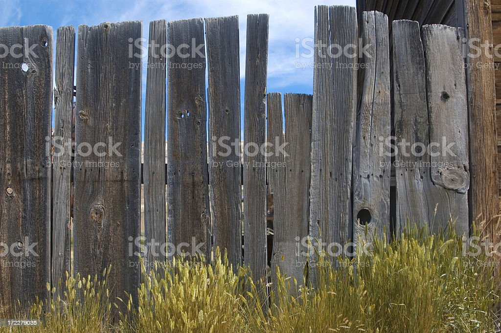 Old worn out wooden fence. stock photo