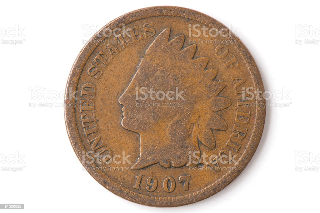Old Worn Penny stock photo