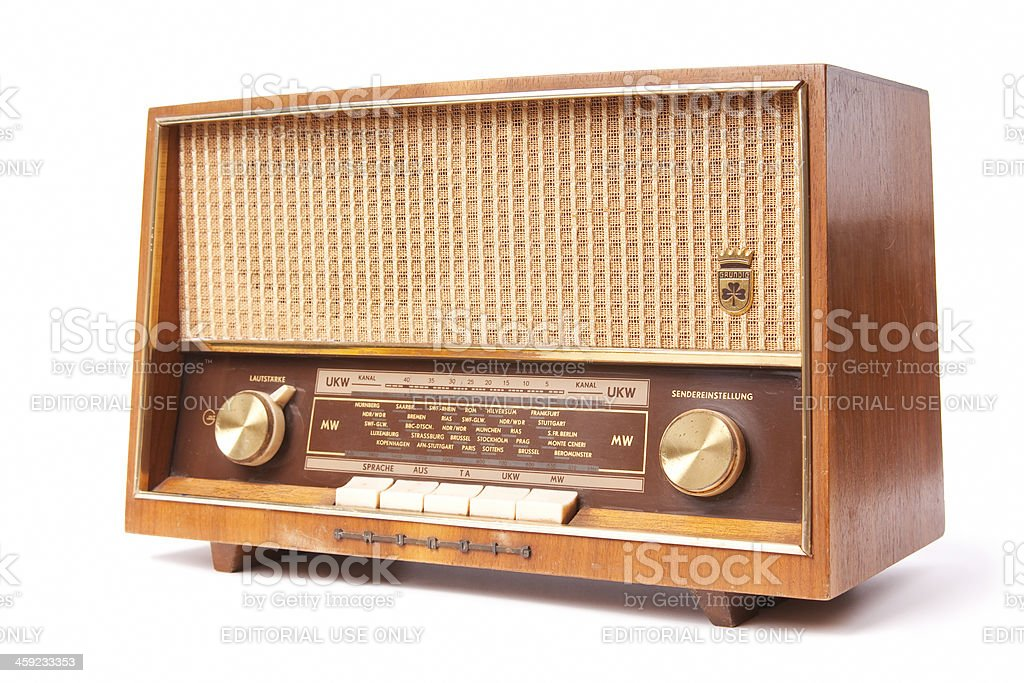 Old worn radio stock photo