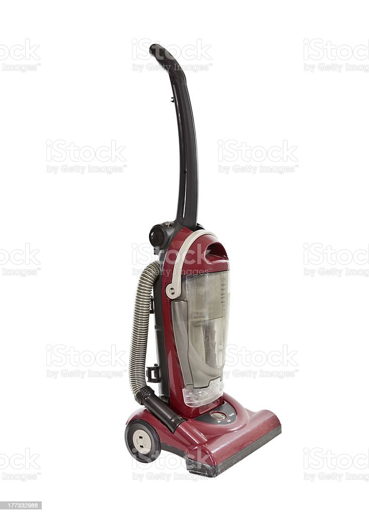 Old Worn Red Vacuum Isolated stock photo