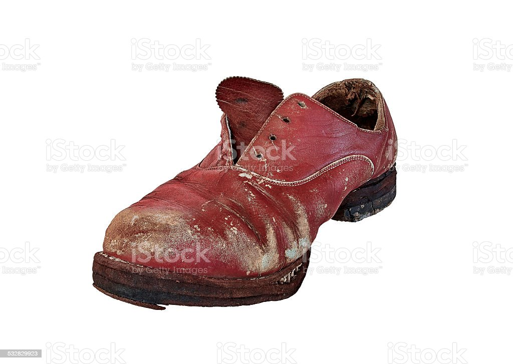 old worn shoe front view royalty-free stock photo